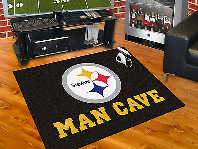 """Fanmats NFL-Pittsburgh Steelers Man Cave All-Star Mat 33.75"""" x 42.5"""" 14356 NEW"""