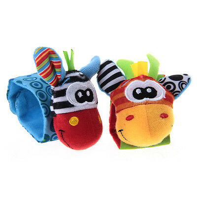 2x Plush Wrist Strap Rattle Early Educational Toy for Kids Baby Toddler Newborn