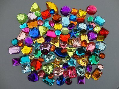 Acrylic Jewel 454g Bag of Assorted Colors & Size Plastic Flat Backed Shiny Jewel