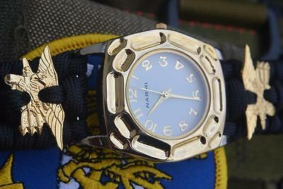 Custom Ultimate Gold & Silver Navy Seal 550 Paracord Watch Adjustable Shackle