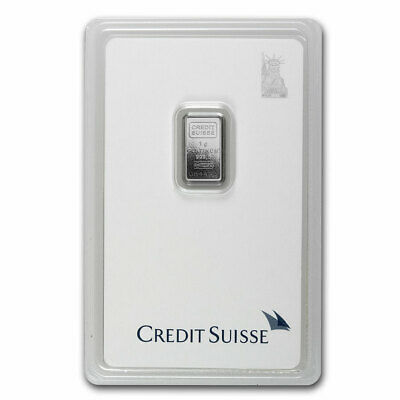1 gram Platinum Bar - Credit Suisse (In Assay) - SKU #1116