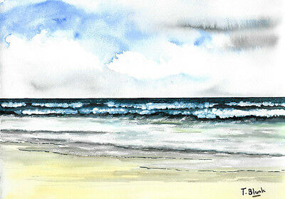 ORIGINAL AQUARELL - Am Strand.