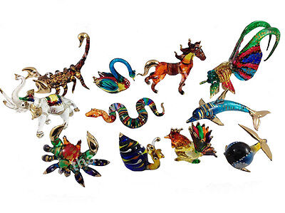11 Pc Tiny Crystal Hand Blown Animals Glass Art Figurine Animal Souvenir Gift