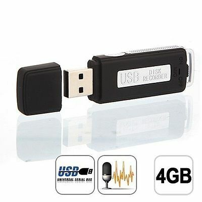 Mini Rechargeable Digital Audio Voice Recorder 4GB USB Spy Flash Drive
