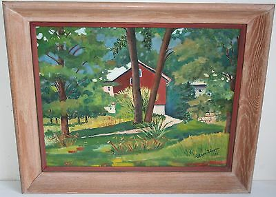 1953 Old New Jersey Landscape Oil Painting Red House Among Forest