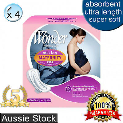 4 x Wonder Maternity Sanitary Pads w/ Wings / Extra Long / Ultra Absorbent 12pk