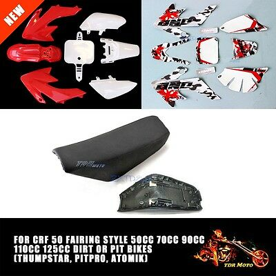For CRF50 Style 50 110cc 125cc Pit Dirt Bike PLASTIC Fender + SEAT + ONO Sticker