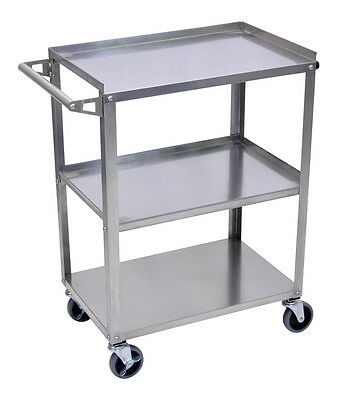 Luxor Stainless Steel Utility cart 34-Inch H Silver SSC-3 New