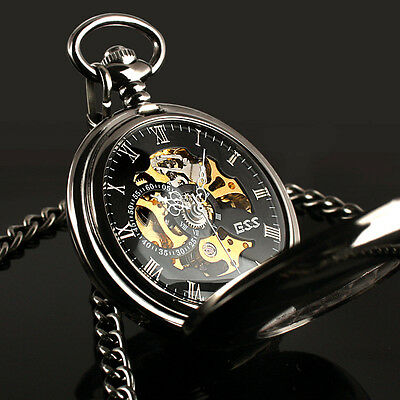 Hand-winding Mechanical Vintage Black Gold With Chain Mens Man Pocket Watch Gift