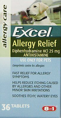 Excel Allergy Relief for Dogs, 36-Count Bottle P-N78015 36 tablets BRAND NEW