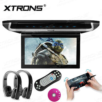 """XTRONS HDMI 10"""" Car Roof DVD Player 1280*800 Flip Down Monitor +IR Headsets LED"""