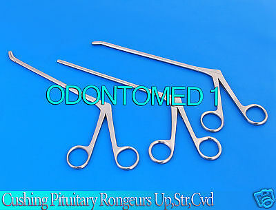 """3 Pcs Cushing Pituitary Rongeurs 8"""" 2x10mm Cup ,Up.Str,Down ENT Surgical"""
