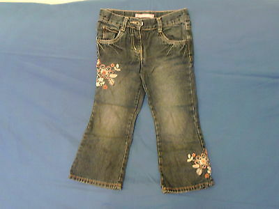 Girls 5 years - Blue Denim Bootcut Jeans with Orange Embroidery - TU