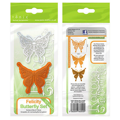 tonic Studios verso Rococo stamp & metal die set Butterfly Felicity 1040e