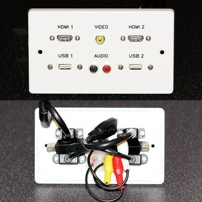 AV Wall Plate, 2x HDMI / 3-Phono Audio Video / 2x USB A sockets, with 2m cables