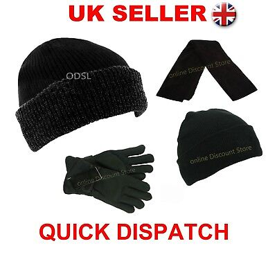 Mens Womens Thermal Lined Insulated Winter Ski Beanie Wooly Ribbed Cap Knit