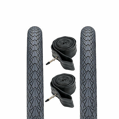 """(Pair of) 26 x 1.75"""" Puncture Resistant Mountain Bike Road Tyres & Inner Tubes"""