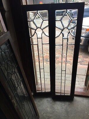 Sg 397 One Pair Antique All Beveled Glass Sidelights