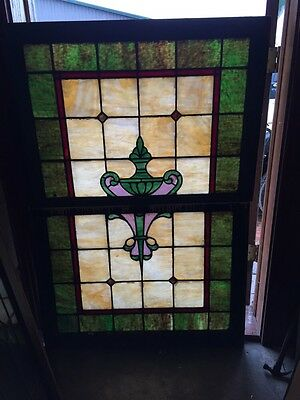 Sg 405 Antique Double Hung Landing Window Stainglass