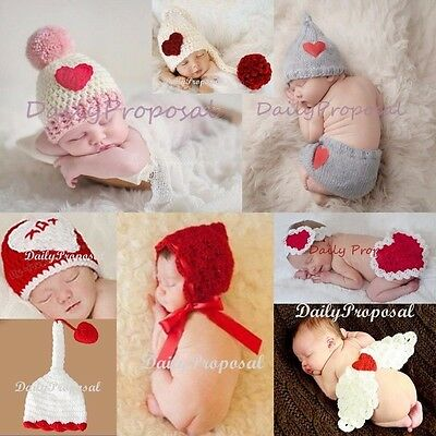 Newborn Baby Girl Boy Crochet Knit Outfit Hat Costume Valentine's Day Photo Prop
