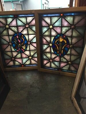 Sg 414 Pair Of Antique Painted And Fired Musical Themed Windows
