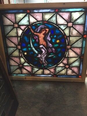 Sg 415 Antique Dancing Girl  Sitting On The Moon Painted And Fired Window