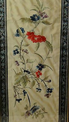 ANTIQUE 19c CHINESE FORBIDDEN STITCH SILK EMBROIDERY PANEL OF MULTICOLOR FLOWERS
