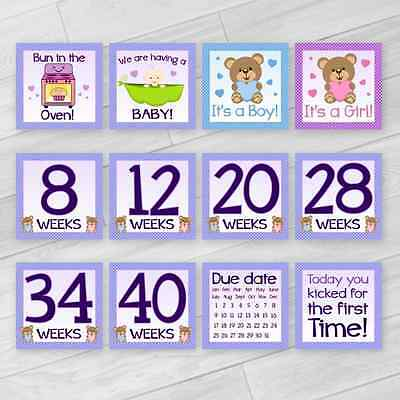 Pregnancy Baby Date Milestone Cards Photo Prop Baby Shower Gift Unisex Boy Girl