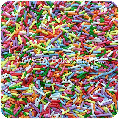 RAINBOW EDIBLE SUGAR STRANDS /JIMMIES -Unicorn Cupcake Sprinkles Cake Decoration