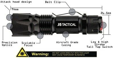 New J5-V1 PRO 300 Lumens Tactical Torch Flashlight Survival Preppers Outdoors