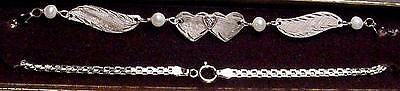 New 14kt White Gold w/Diamond Heart Classic Winged Anklet-Free Ship!