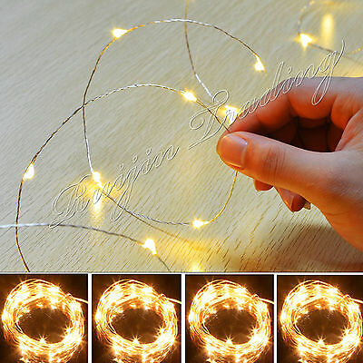 100 batterie LED Métal String Fairy Lights Christmas Noël Guirlandes lumineuses