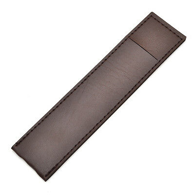 1X Coffee Leather Pen Case Bag Pencil Pouch Holder Office School Stationery Gift
