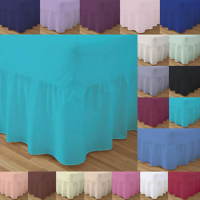 Fitted Valance Sheets Bed Double Single Super King Size Dyed Pillow Cases Plain