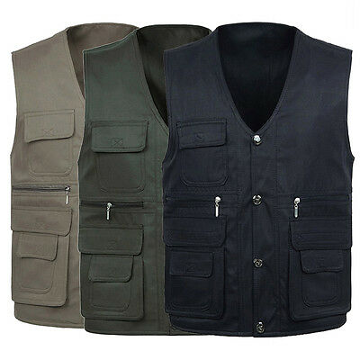 Men's Multi Pockets Casual Vest Outdoor Fishing Hunting Shooting Travel Jackets