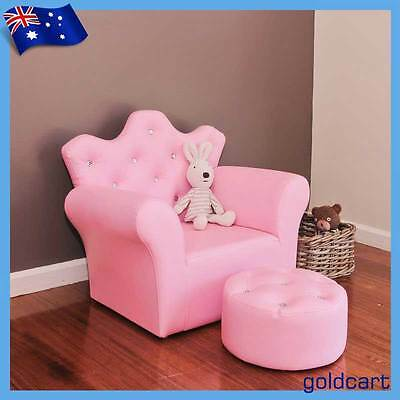 PRINCESS SOFA FOOTSTOOL DELUXE CRYSTAL GIRLS PVC Leather / CRYSTAL Little