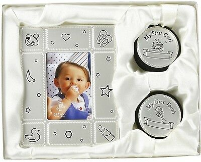 Baby Gift Set Photo Frame 1st Tooth & Curl Boxes, Christening New Born Gift