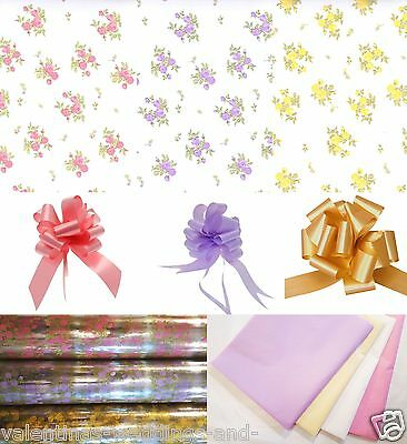 Cellophane Wrap Pull Bow Tissue Vintage Posy Floral Bouquet Hamper Gift Basket