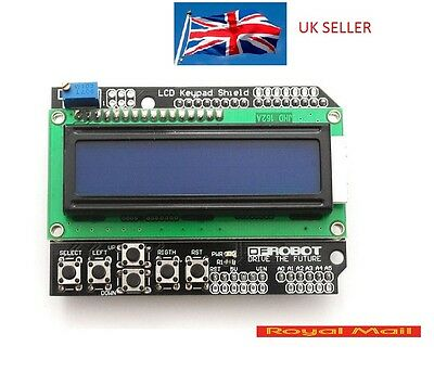 LCD 1602 16x2 Keypad Shield Expansion Board Blue Backlight for Arduino UNO #B124