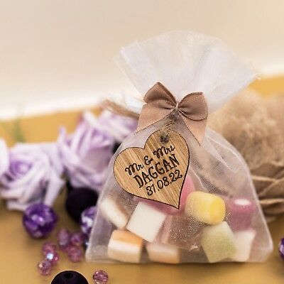 Personalised love hearts wedding favours - wooden engraved wedding decor