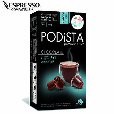 PODISTA HOT CHOCOLATE SUGAR FREE Nespresso Compatible PODS Capsules 100g