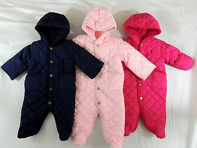 Ralph Lauren Polo Pony One Piece Snow Suit Quilted Hooded Overall Bunting Jacket