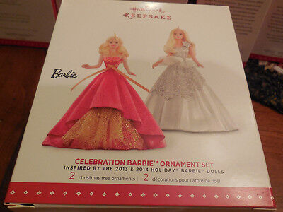 2015 HALLMARK KEEPSAKE Celebration Holiday Barbie™ Ornament Set NEW IN BOX