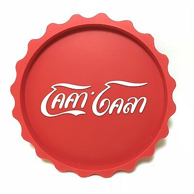 Thai Font Coca-Cola Red and White Rubber Drink Coke Glass Coaster Collectible