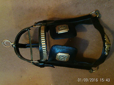 Antique Horse Harness Leather Metal Frame Crscnt Moon Terret Blinkers BS REDUCED
