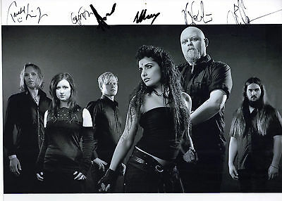 "STUNNING 10"" x 8"" B&W PROMO / PHOTO (COA) SIGNED ""TTM"" BY GOTH BAND ""TRISTANIA"""