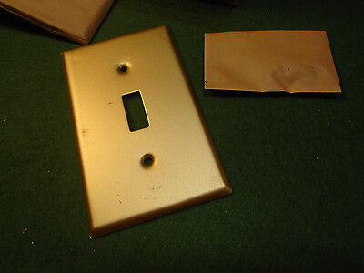 Gold Metal On/off Switch Plate Cover - New Old Stock (4399-3)