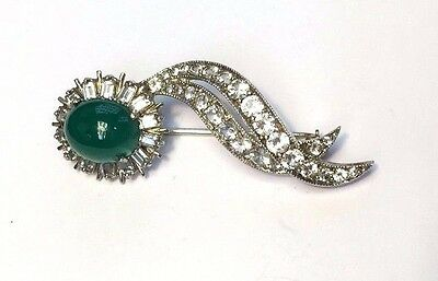 Estate Faux Diamond and Emerald Sterling Silver Pin Brooch