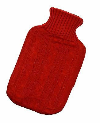 2L Hot Water Bottle Knitted Cover Red Gift Large Warm Sweater Thermotherapy