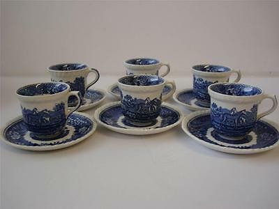 Adams English Scenic 6 X Small Coffee Cups And Saucers Blue Horses